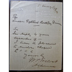 Sir William Purdie Treloar, 1st Baronet Grange Mount 1899 Signed letter