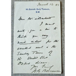 Sir Arthur Sackville Griffith-Boscawen signed letter 1893