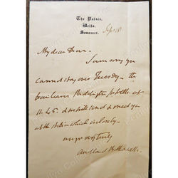 Robert John Eden, 3rd Baron Auckland Bishop Bath & Wells Signed Letter c1860