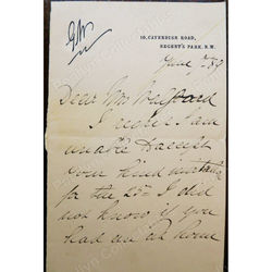 Lucy Geneviève Teresa Ward, Countess de Guerbel, DBE Signed 1889 Letter