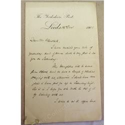 H E Palmer Editor The Yorkshire Post 1901 Signed Letter