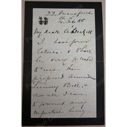 Charles Joseph Theophilus Hambro MP 1834-1891 Signed 1888 Letter re Lunacy Bill