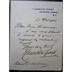 Sir Francis Carruthers Gould (1844-1925) 1908 Signed letter