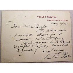 John Lawrence Toole (Toole's Theatre) 1884 Signed Letter card