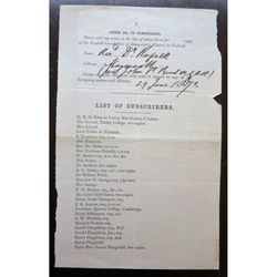 Signed 1872 subscription, Maynooth, Rinuccini's mission to Ireland, Prendergast