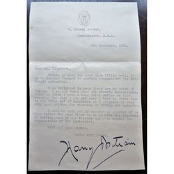 Sir Henry (Harry) Ernest Brittain Signed 1928 Letter