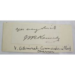 Admiral Sir William Robert Kennedy Signed Letter clip