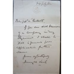 Henry Brougham Loch 1882 signed letter