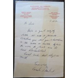 Signed 1972 Harvard University Coach letter (unidentified)