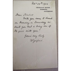 Lt-Col. George Best, 5th Baron Wynford (1838 - 1904) 1904 Signed Letter