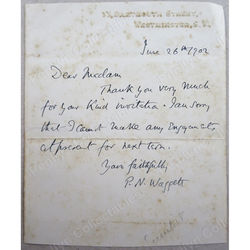 Major the Rev. Philip Napier Waggett (1862-1939)  Signed 1902 Letter