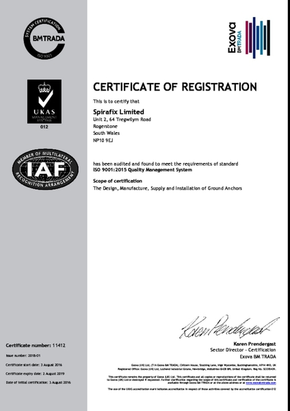 Spirafix secures ISO accrediation again