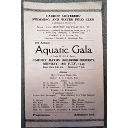 Cardiff Shiverers 1949 Aquatic Gala (Swimming & Water Polo)