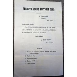 Penarth Rugby Football Club 1951 AGM 4 page Report