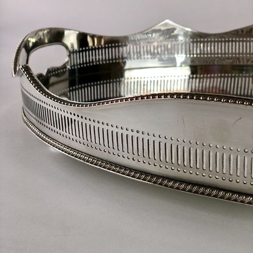 Antique silver plated on copper oval galleried drinks tray
