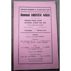 Penarth Aquatic Gala 1943 Programme In aid of Cardiff Royal Infirmary