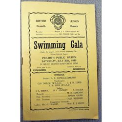 Penarth British Legion  1949 Swimming Gala Programme
