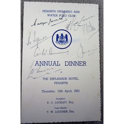 Autographed 1951 Menu Penarth Swimming and Water Polo Club