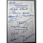 Autographed 1950 Menu Penarth Swimming and Water Polo Club Copy