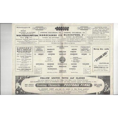1952 Manchester United v Newcastle United Charity Shield Football Programme Rare