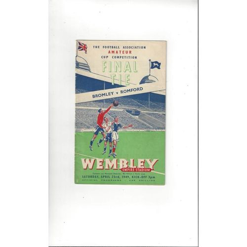 1949 Bromley v Romford Amateur Cup Final Football Programme