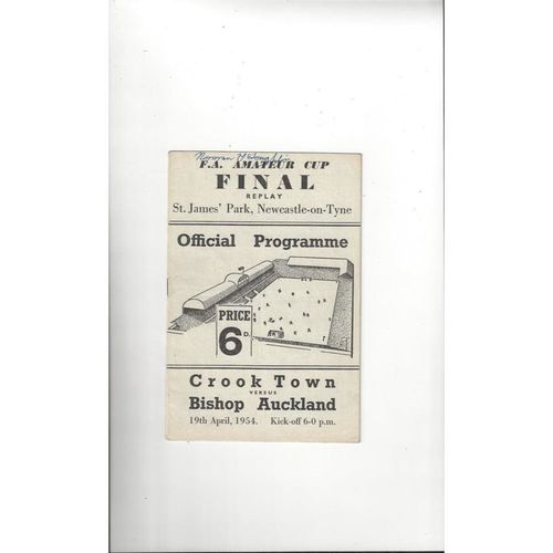 1954 Crook Town v Bishop Auckland Amateur Cup Final Replay Programme @ Newcastle