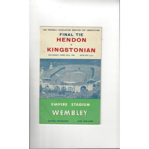 1960 Hendon v Kingstonian Amateur Cup Final Football Programme