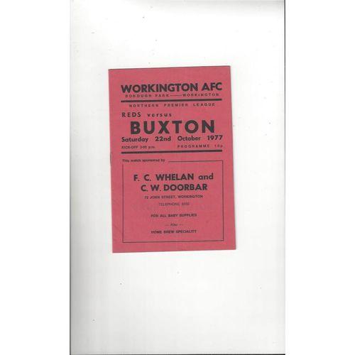 1977/78 Workington v Buxton Football Programme