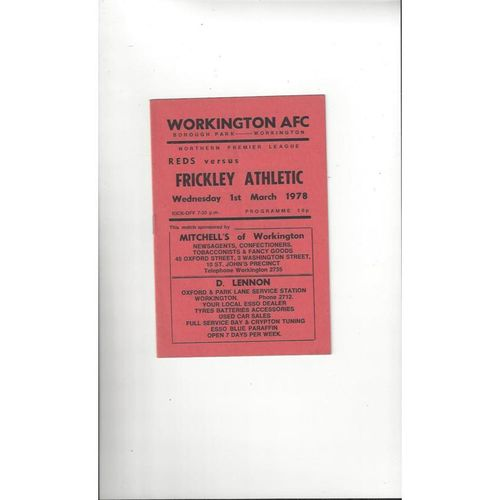 1977/78 Workington v Frickley Athletic Football Programme