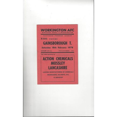 1977/78 Workington v Gainsborough Trinity Football Programme