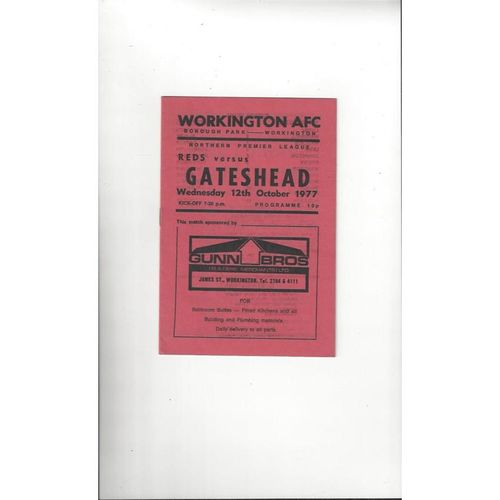 1977/78 Workington v Gateshead Football Programme