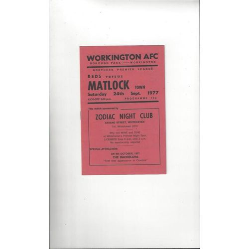 1977/78 Workington v Matlock Football Programme