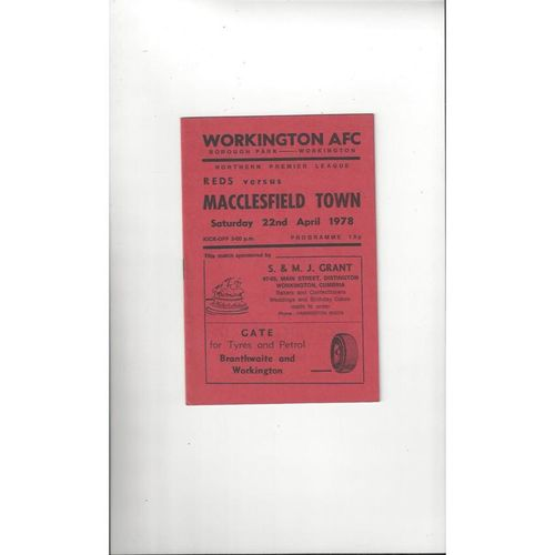 1977/78 Workington v Macclesfield Town Football Programme