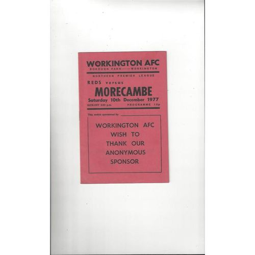 1977/78 Workington v Morecambe Football Programme