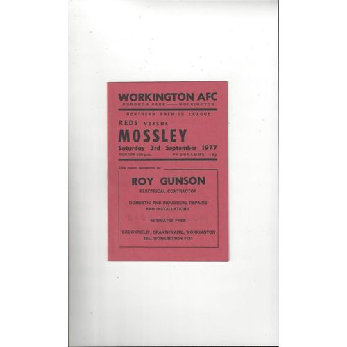 1977/78 Workington v Mossley Football Programme