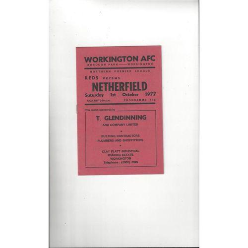 1977/78 Workington v Netherfield Football Programme