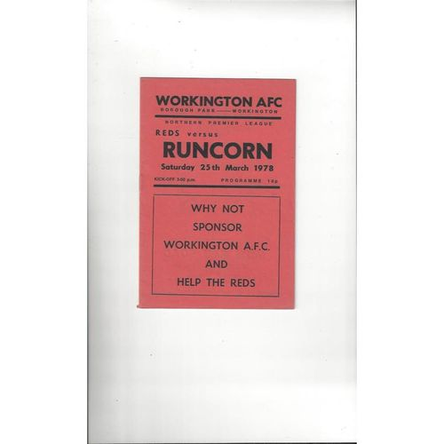 1977/78 Workington v Runcorn Football Programme