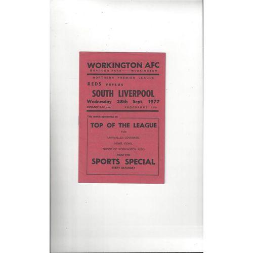 1977/78 Workington v South Liverpool Football Programme