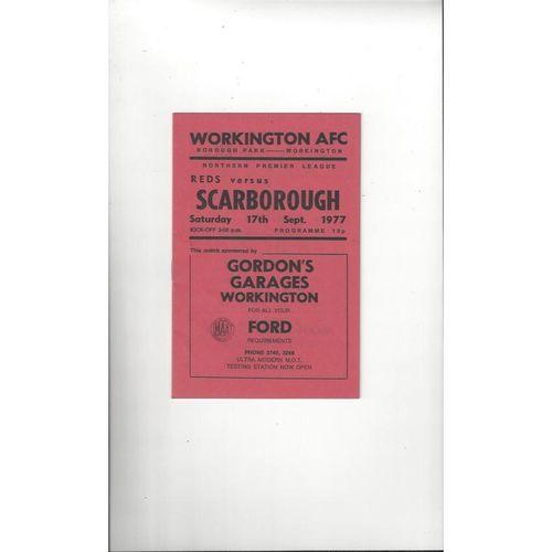 1977/78 Workington v Scarborough Football Programme