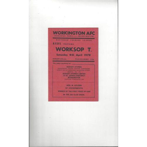 1977/78 Workington v Worksop Town Football Programme