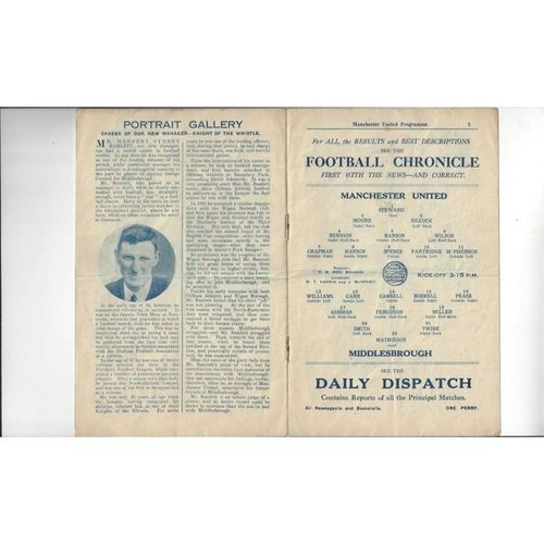 1927/28 Manchester United v Middlesbrough Football Programme