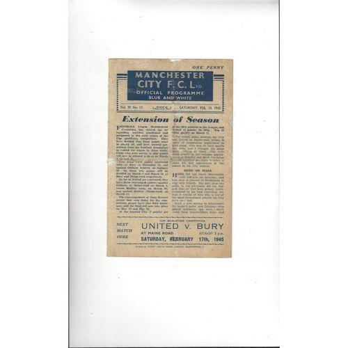 1944/45 Manchester City v Manchester United Football Programme