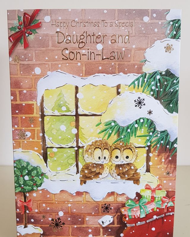 Daughter Son In Law Owls Presents Christmas Card Remember That