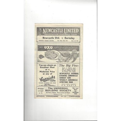 1947/48 Newcastle United v Barnsley Football Programme