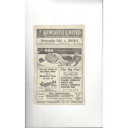 1947/48 Newcastle United v Bury Football Programme