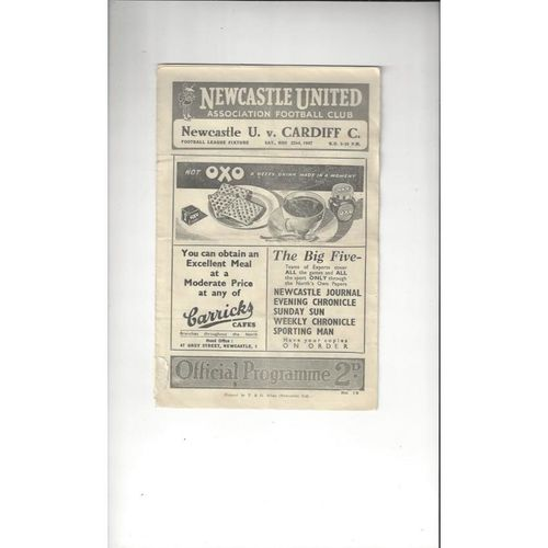 1947/48 Newcastle United v Cardiff City Football Programme