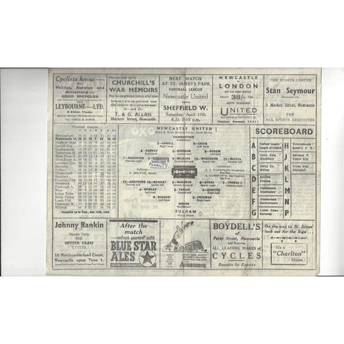 1947/48 Newcastle United v Fulham Football Programme