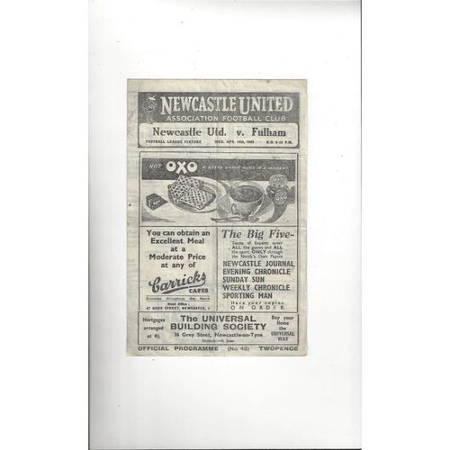 1947/48 Newcastle United v Fulham Football Programme