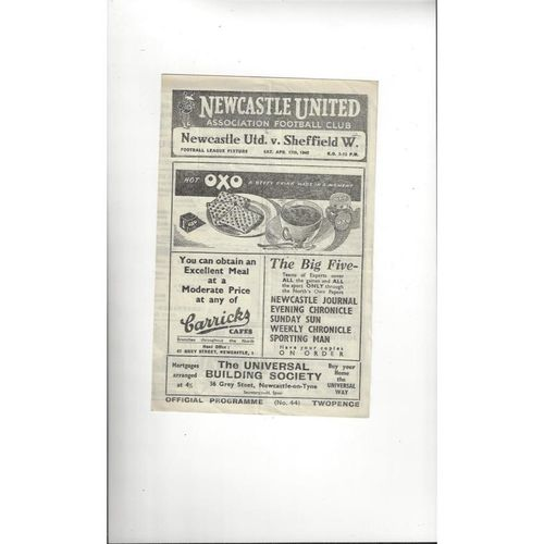 1947/48 Newcastle United v Sheffield Wednesday Football Programme