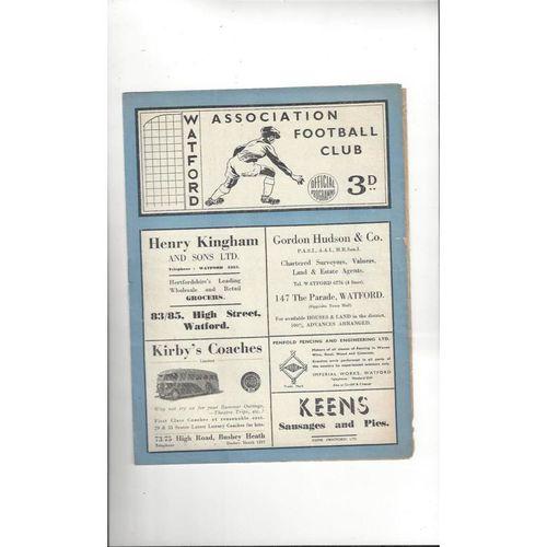 1948/49 Watford v Swansea Football Programme